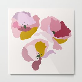Pink Abstract Poppies by The Botanical Study Metal Print