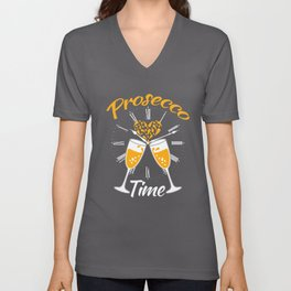 Funny Prosecco Time Clock  Unisex V-Neck