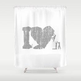 I Love Bouldering (white) Shower Curtain