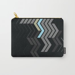 Deconstructed Chevron C – Gray / Gold / Blue Abstract Pattern Carry-All Pouch