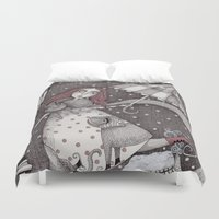 snow Duvet Covers featuring Alice's First Snow by Judith Clay