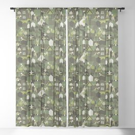 Indoors & outdoors (green camo) Sheer Curtain