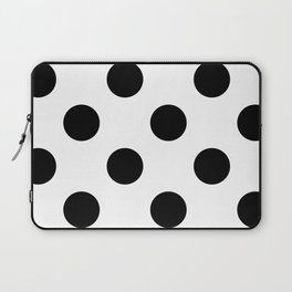 Large Polka Dots - Black on White Laptop Sleeve