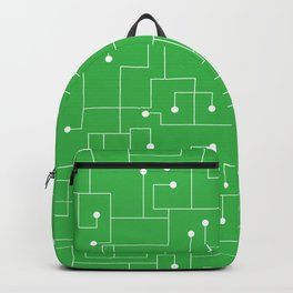 Cartoon Circuit Board Green and White Backpack