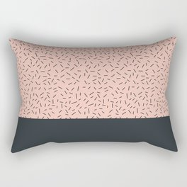 Navy little stripes on pale pink Rectangular Pillow