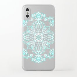 Teal and Aqua Lace Mandala on Grey Clear iPhone Case