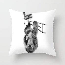 Closed-circuit Sloth Throw Pillow