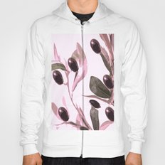 Olive tree branch with pink tones on white background Hoody
