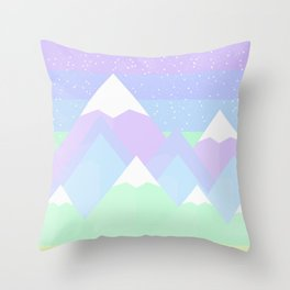 Pastel Mountain Rainbow Scene Throw Pillow