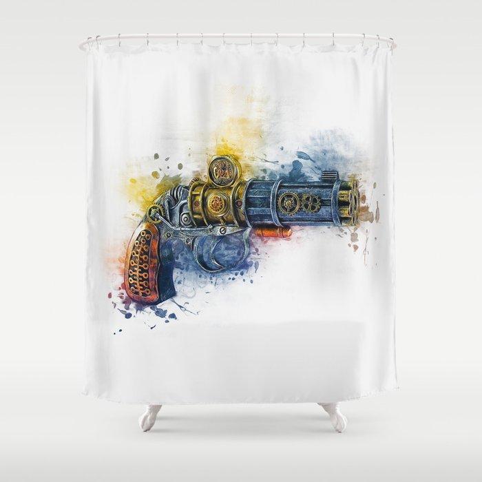 Steampunk Gun Shower Curtain