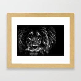 lion.  Black & White Framed Art Print