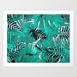 Tropical leaves background texture Art Print