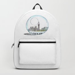 London painted in pastel colours in a glass bowl Backpack