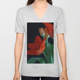 Close up of Crimson Red Tulip on Black Background Unisex V-Neck