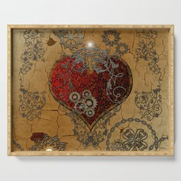 Steampunk, awesome heart Serving Tray