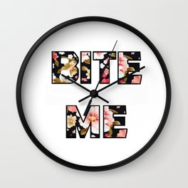 Bite Me - Floral Wall Clock