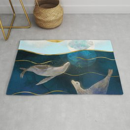 Sea Lions Playing with the Moon - Underwater Dreams Rug