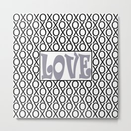 Pantone Lilac Gray LOVE XOs (Hugs and Kisses) Typography Art Metal Print