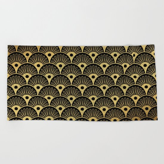 Wonderful gold glitter art deco pattern on black backround - Luxury design for your home Beach Towel