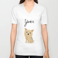 yorkie V-neck T-shirts featuring Yorkie - Cute Dog Series by Cassandra Berger