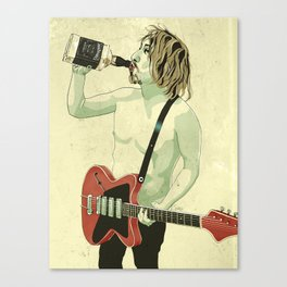 Guitarist with Telecaster drinking whiskey, JD Canvas Print