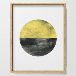 Circle art - Mustard Yellow Black - Modern Minimalist Serving Tray
