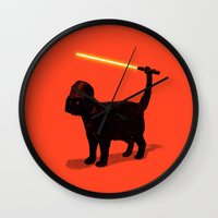 shipping Wall Clocks featuring Cat Vader by nicebleed