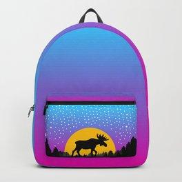 Moose Moon Light Pink and Light Blue Backpack