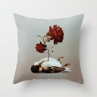 soul Throw Pillows featuring Soul by Bente Schlick