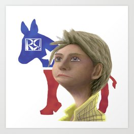Hillary Clinton Caricature Art Print