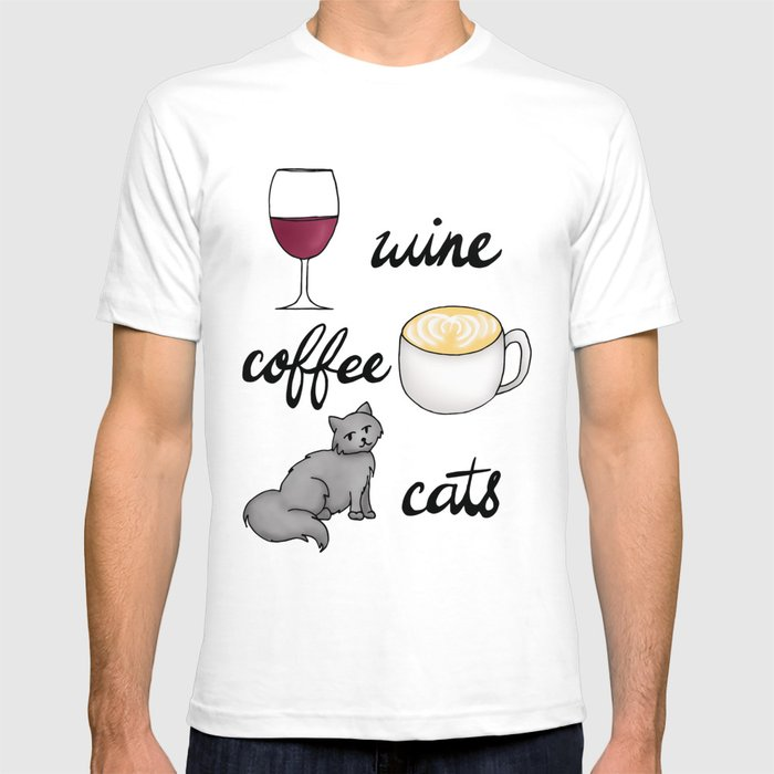 Wine Coffee Cats Graphic T-shirt by Julie Erin Designs - White - MEDIUM - Mens Fitted Tee