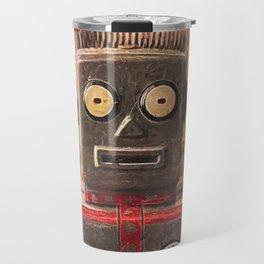 Robot on fire by Brian Vegas Travel Mug