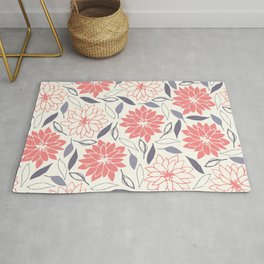 Coral and Gray Floral Pattern Rug