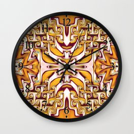 Fiery Orange and Cream Spiral Bends Wall Clock