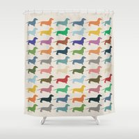 dachshund Shower Curtains featuring Dachshund by Opul