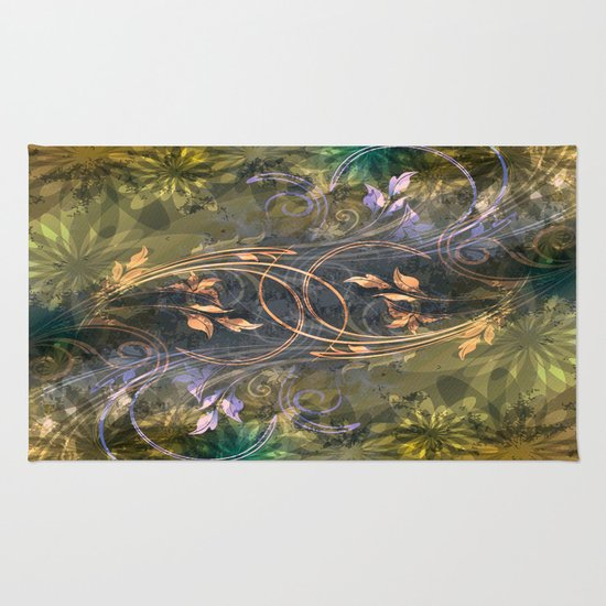 Earth Tone Floral Leaf Swirl Abstract Rug