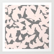 Pastel Pink Bird Wings on Grey Art Print