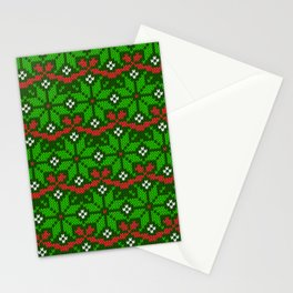 Festive knitted snowflake motif pattern in green & red Stationery Cards