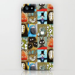 Studio Ghibli Collage - Calcifer, Jiji, Turnip, No Face, Markl, Kodama, Cat Bus & Soot Sprites iPhone Case