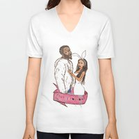minaj V-neck T-shirts featuring pills and potions. by Late Bloomer