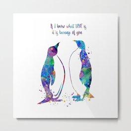 Penguin Family Art Colorful Watercolor Animals Artwork Metal Print