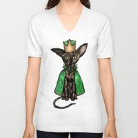matisse V-neck T-shirts featuring Queen Matisse the Oriental Shorthair by Studio 8107