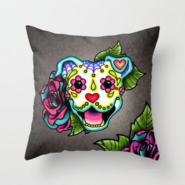 Smiling Pit Bull in White - Day of the Dead Pitbull Sugar Skull Throw Pillow