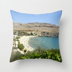 Rhodes, Greece Beach  Throw Pillow