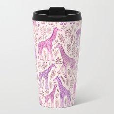 Pink Giraffe Pattern Metal Travel Mug