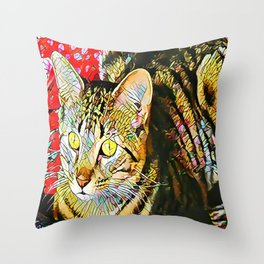 The TIGER from our FUNK YOUR FELINE line Throw Pillow