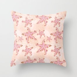 Starfish and Coral Pink Pastel Pattern Throw Pillow