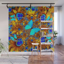 BLUE & GOLD ART DECO BUTTERFLIES & FLOWERS VIGNETTE Wall Mural
