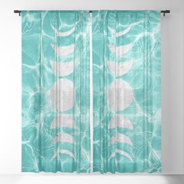 Pool Dream Moon Phases #1 #water #decor #art #society6 Sheer Curtain