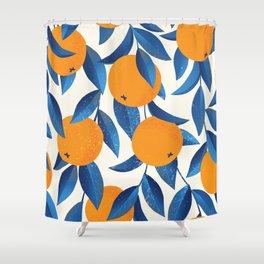 Vintage oranges illustration hand drawn pattern Shower Curtain